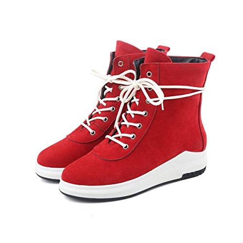 YE Damen Flache Ankle Boots Plateau Stiefeletten mit Schnürung Bequem Freizeit Sport Schuhe Rot