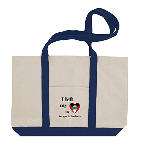 I Left My Heart In Antigua & Barbuda Cotton Canvas Boat Tote Bag Tote - Royal Blue