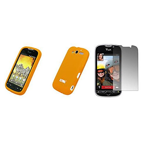 EMPIRE Orange Silicone Skin Cover Couverture Case Étui Coque + Films de protection d'écran for HTC myTouch 4G