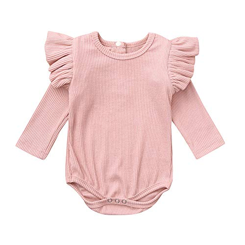 Newborn Infant Outfits Clothing,Baby Boys Girls Solid Ruffles Romper Jumpsuit (3-6 Months, Pink) ()