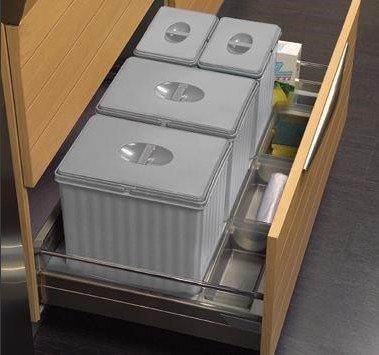 Pattumiera per base cestone 90 cm sottolavello cucina - 4 secchi H ...