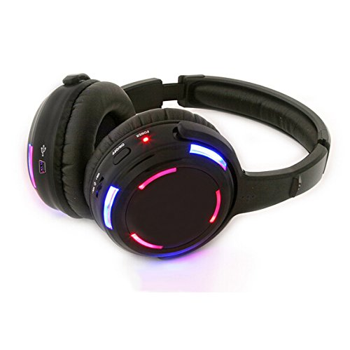 Silent Disco LED Headphone 915MHZ 3 Channels - RF Wireless For iPod MP3 DJ Music