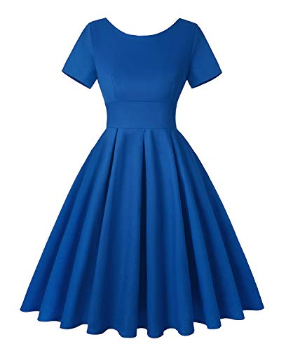 ROOSEY Womens 60's Vintage Fit and Flare Dress Retro Floral Evening Formal Dress C-blue,X-Large -