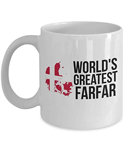 Denmark Coffee Mug - Novelty Farfar Danish Flag Tea Cup For Men - Best Birthday & Christmas Gift For Grandfathers With Scandinavian Heritage Pride - Proud Nordic Viking Lover - Cookies Recipes Danish