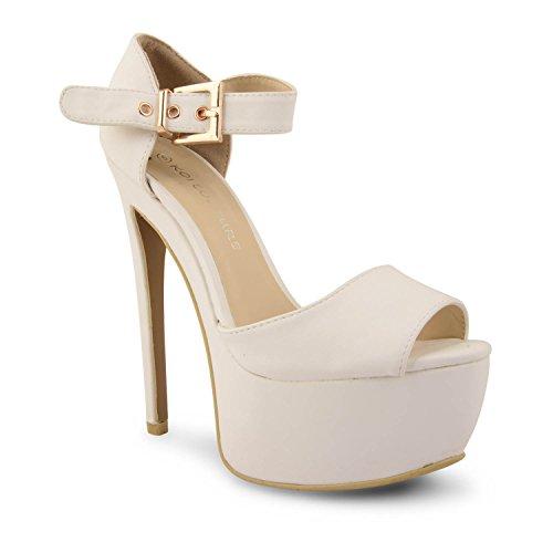 Para mujer diseño de Leigh Ann Tennant con plataforma ajustados Stiletto de tacones de zapatos de traje de neopreno para mujer y pedrería para mujer de talla de Multicolor - blanco (White Pu)