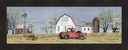Home Cabin Décor Spring On The Farm by Billy Jacobs 16x40 Rain Flowers Dirt Old Truck Barn Silo Windmill Wheel Barrow Budding Trees Seasons Framed Art Print Picture ()