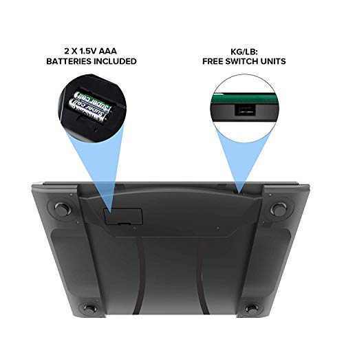 Etekcity Digital Weight Bathroom Technology, Tape Included, Black