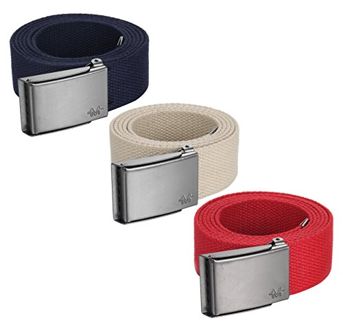 """[Marino men's casual belt, Web belt military style 1.5"""" Up to 54 Waist, 3 in 1 pack, with bottle opener Steel buckle, in an Elegant Gift Box - Red-Khaki-Navy - Custom: Up to 44"""