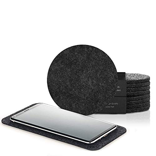 (Artoid Felt Coasters Set of 9 for Drinks | 8-Pack Absorbent Drink Coasters with Bonus Phone Coaster in Gift Box | Heat-Resistant, 4 Inches in Diameter for All Types of Glasses, Cups & Mugs)