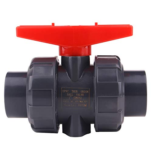 3/4'' PVC True Union Ball Valve with Full Port-Compact Ball Valve with EPDM O-Rings, Reversible PTFE Seats, Rated at 200 PSI, 3/4 inch Socket