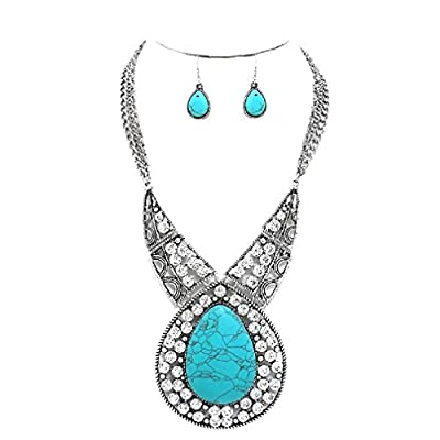 Uniklook Big Silver Western Cowgirl Simulated Stone Crystal Chain Necklace Earrings Set Gift Bijoux