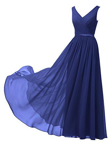 (Alicepub V-Neck Chiffon Bridesmaid Dress Long Party Prom Evening Dress Sleeveless, Royal Blue, US4)