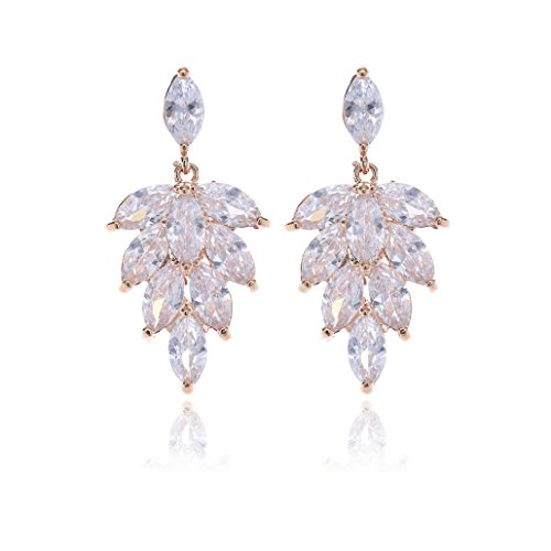 Crystal Cluster Earrings for Wedding - Rose Gold Plated Marquise CZ Crystal Rhinestone Leaf Floral Bridal Earrings for Bride Bridesmaids Mother of Bride Party Prom Pageant