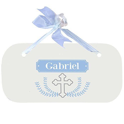 Personalized Cross Garland Light blue Wooden Door Hanger With Blue Ribbon by MyBambino