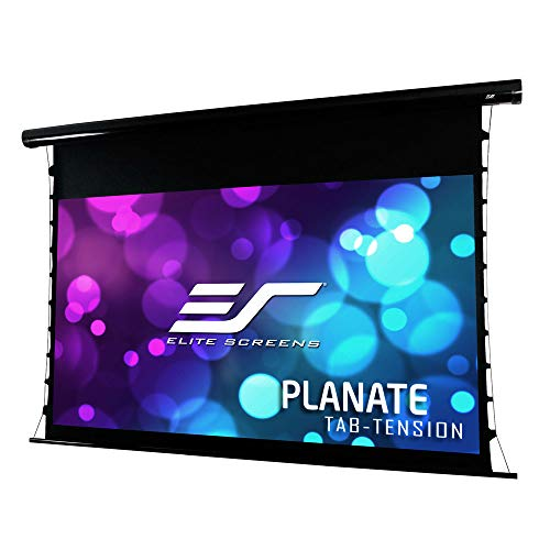 Elite Screens Planate Tab-Tension B, 120-inch Diagonal 16:9, 4K/8K Tab-Tensioned Electric Drop Down Projection Projector Screen, -
