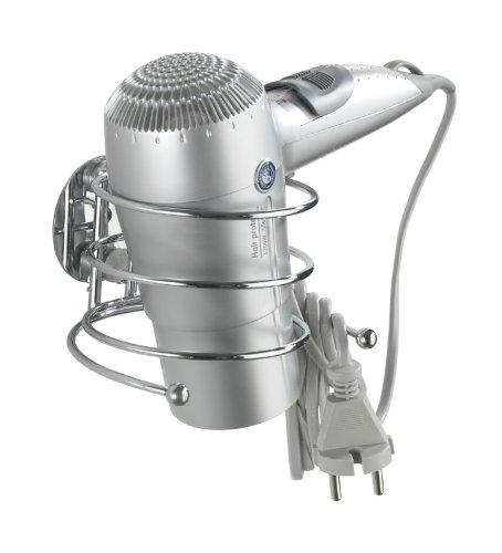 Wenko 18770100 Turbo-Loc Haartrocknerhalter - Befestigen ohne bohren, Kabelhalter, Stahl, 14 x 7.5 x 11.5 cm, Chrom