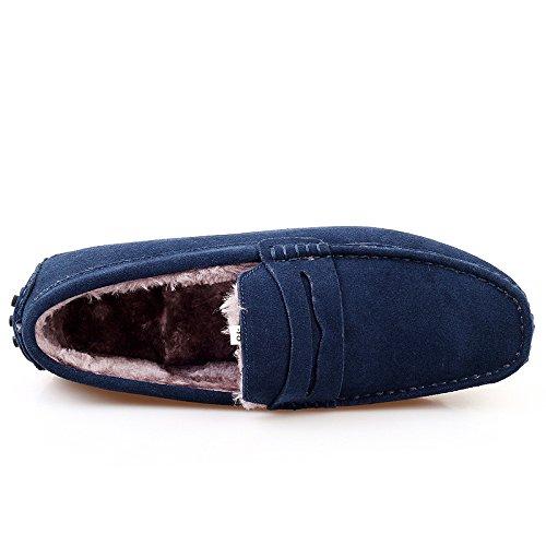 Abby 2088w Mocassini Uomo Mens In Lana Flat Eleganti Casuali Slip-on Mocassini Driving Sneakers Blu
