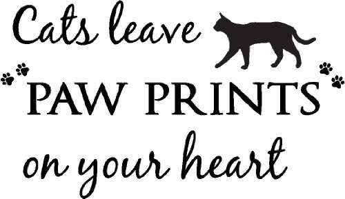 Cats leave paw prints on your heart cute pet vinyl wall quotes decals sayings art lettering