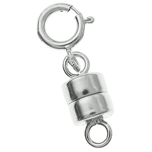 1 Set 925 Sterling Silver 4mm Magnetic Clasp Converter Connector For Necklaces with 5mm Spring Ring (Necklace 925 Silver Clasp)