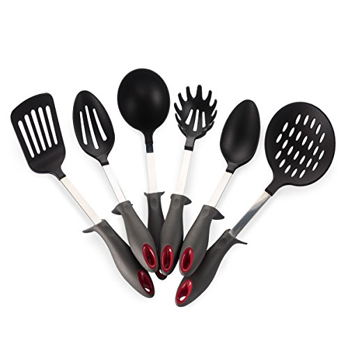 Price comparison product image Kitchen Cooking Utensils Set, Heat Resistant Kitchen Tools Sets, Nylon Cookware Gadgets includes 6 Pieces Kitchen Utensil Set Soup Ladle, Slotted Spoon, Slotted Turner, Solid Spoon and Pasta Fork