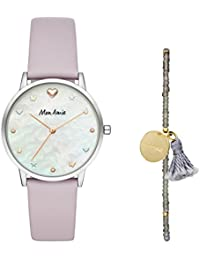 Women's Iconic Health Quartz Stainless Steel and Leather Watch and Bracelet Set, Color: Silver, Purple (Model: CBMA2502)