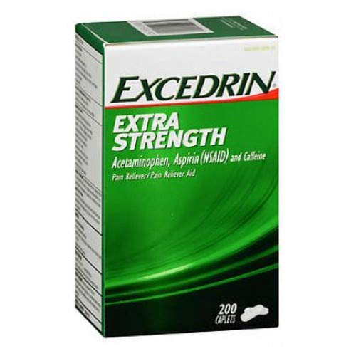 Excedrin Pain Reliever/Pain Reliever Aid, Extra Strength, Caplets 200 ct (Pack of 3) by Excedrin