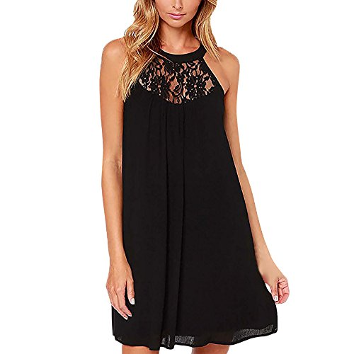 - HGWXX7 Women Summer Casual Plus Size Solid Chiffon Strap Beach A-Line Mini Dress (XXL, Y-Black(Lace))
