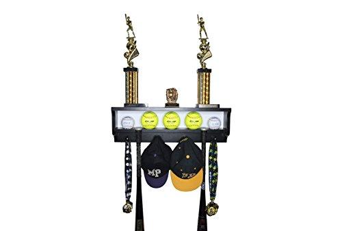 MedalAwardsRack Premier Baseball Ball Accessory Display Rack and Trophy Shelf (Black)