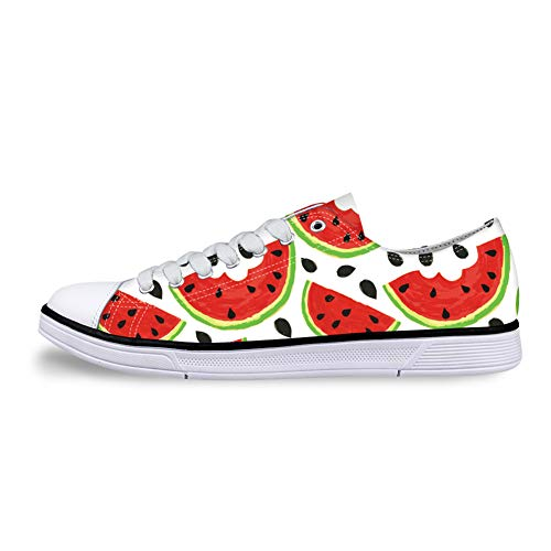 Women's Men's Watermelon Painted Canvas Slip-On Shoes Fashion Ladies Travel Shoes for Adults.