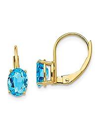 14k Yellow Gold 7x5mm Oval Blue Topaz Leverback Earrings Lever Back Drop Dangle Gemstone Prong Fine Jewelry For Women Gift Set