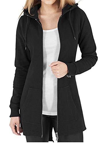 Full Zip Long Sleeve Sweater - Kidsform Women's Full Zip Hoodie Long Sleeve Casual Sweatshirts Solid Hooded Jacket Black US 4/Asian S