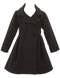 Girl Winter Dress Coat Long Sleeve Buttons Pockets