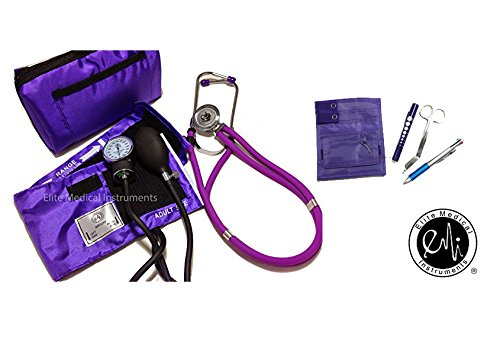 EMI NK-330 Sprague Rappaport Stethoscope and Aneroid Sphygmomanometer Manual Blood Pressure Set and Pocket Organizer Nurse Kit (Purple)