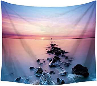 Scenery House Decor Tapestry Reef Rock Printed Beach Towel Wall Hanging for Bedroom Living Room Dorm Picnic Mat Tablecloth