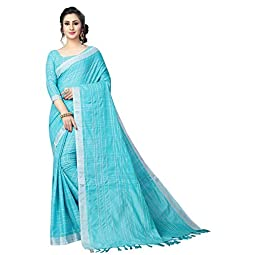 PERFECTBLUE Women's Linen Saree With Un-stitched Blouse