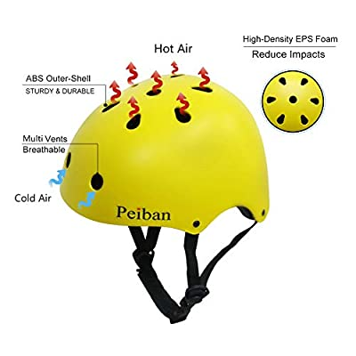 Peiban Skateboard Helmets Adjustable Safety Bike Helmets ASTM CPSC Cycling Skating Scooter Helmet for Kids & Adults Multi-Sport : Sports & Outdoors