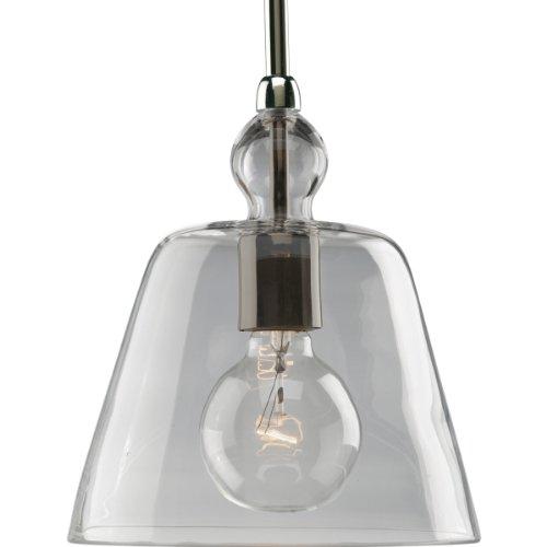 (Progress Lighting P5184-104 1-Light Stem Hung Mini-Pendant with Clear Glass, Polished Nickel)