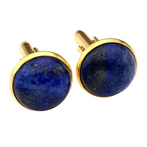 - JOVIVI 2pcs Gold Plated Lapis Lazuli Gemstone Cufflinks for Men Women Shirt Dress Business Wedding with Gift Box