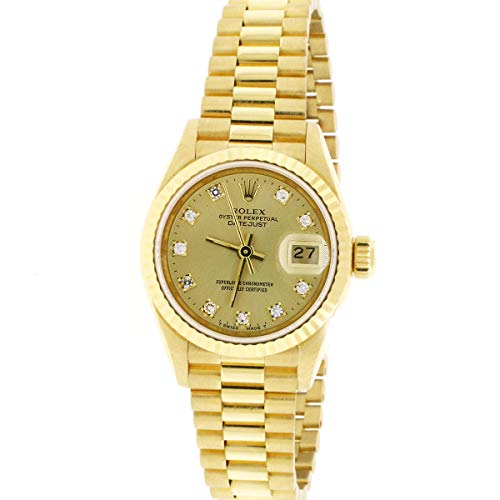 - Rolex President Datejust Factory Diamond Dial Yellow Gold 26mm Watch 69178