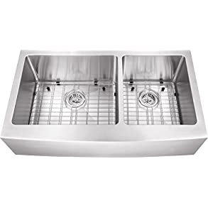 0263AP 36'x20'x10' 60/40 Farmhouse Apron Front Farm House 16 Gauge Double Bowl Stainless Steel Sink INCLUDES Grid Set and Strainers