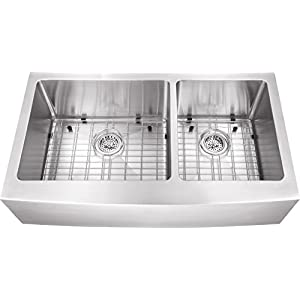 0263AP 36″x20″x10″ 60/40 Farmhouse Apron Front Farm House 16 Gauge Double Bowl Stainless Steel Sink INCLUDES Grid Set and Strainers