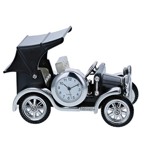 (Miniature Vintage Car Novelty Polished Black Metal Tone Collectors Clock 9707)