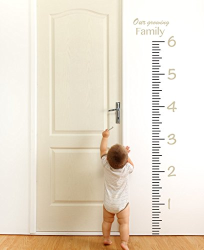 Giant Vinyl Growth Chart Kit | Kids DIY Height Wall Ruler Large Measuring Tape Sticker Number Decal Sticker (Beige, 73x23 inches) by The Decal Guru