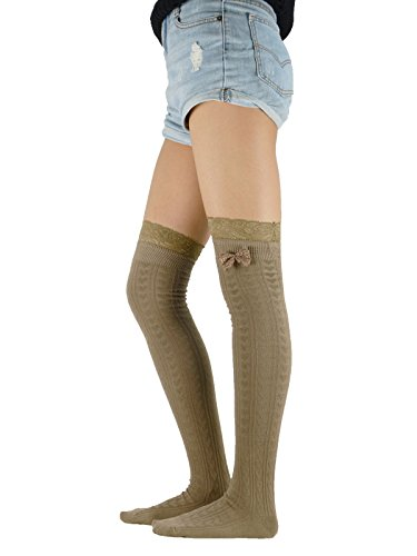 [Zando Women's Ladies Sexy Lolita Opaque Heart Thigh-High Stockings Over Knee Socks with Lace Bows Khaki] (Crop Over Band Costumes)