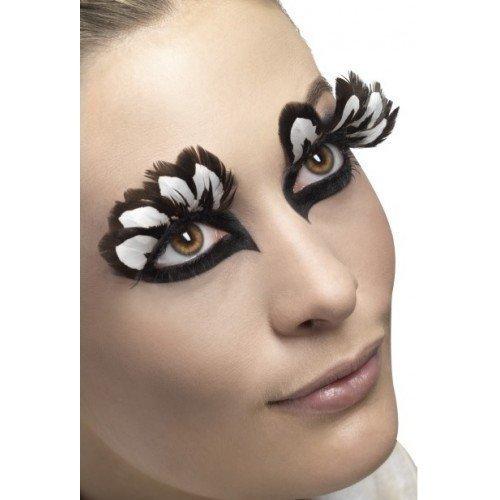 9704d5acf71 Ladies Long Brown White Feather False Fake Eyelashes Drag Queen Burlesque  Halloween TV Hen Do Fancy Dress: Amazon.co.uk: Toys & Games