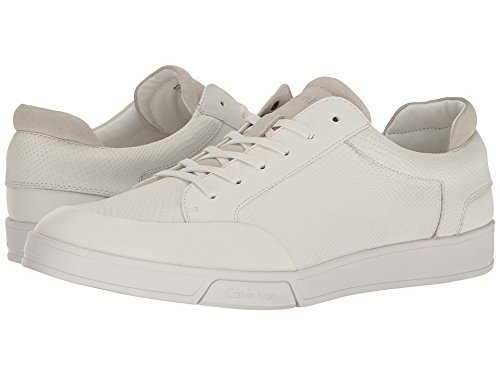 Calf Leather Sneaker (Calvin Klein Men's Balin Emossed Lea Calf Smooth Fashion Sneaker, White, 11 M US)