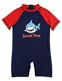 Sweet & Soft Little Boys' Shark Time Animal Print 1-Piece Swim Rashguard, Navy / Red, 3T