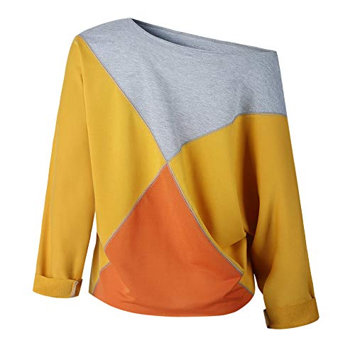 Shirt Fashion Women Long Strapless T Blouse Yellow Sweatshirt Pullover Rawdah Patchwork Sleeve 0wnBqWR5d