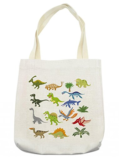 Lunarable Boy's Room Tote Bag, Cartoon Dinosaur Images with Other Elements from Jurassic Fauna Cute Creatures, Cloth Linen Reusable Bag for Shopping Groceries Books Beach Travel & More, Cream -