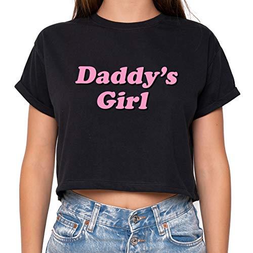 Daddy Girl Crop Top Fun Women's Tumblr Cute Kawaii Black